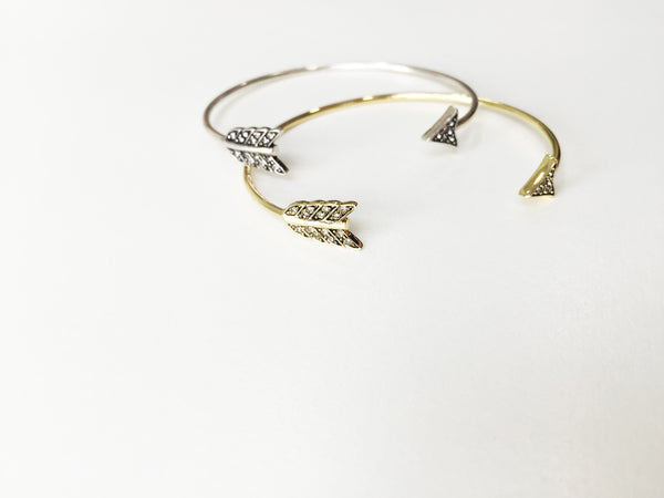 ARROW WRAP CUFF - GOLD & SMOKEY GREY PAVE