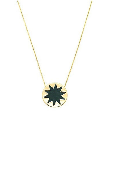 FOREST GREEN MINI SUNBURST PENDANT NECKLACE