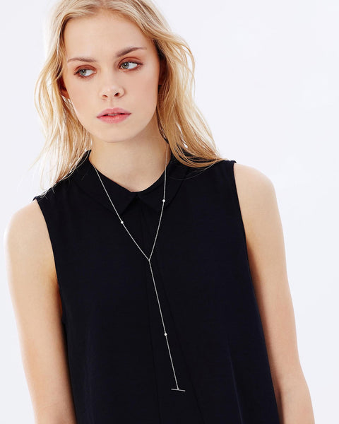 EVENING SHINE PETITE LARIAT NECKLACE - ROSE GOLD