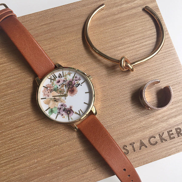 FLOWERSHOW WATERCOLOUR GOLD & BROWN STRAP