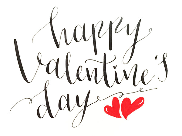 HAPPY VALENTINES DAY CARD - BLACK & WHITE