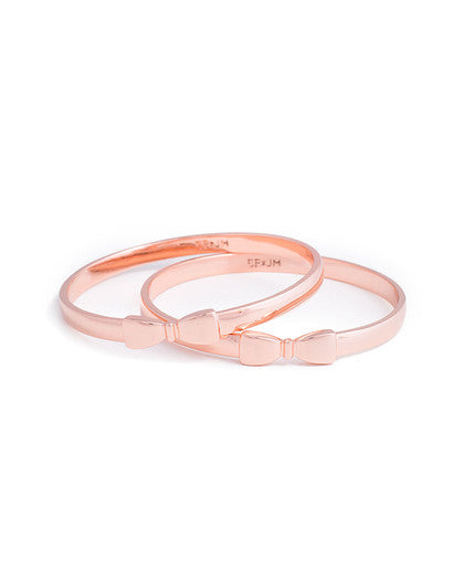 SET OF 2 BOW ROSE GOLD BANGLES (ERIN x JM)