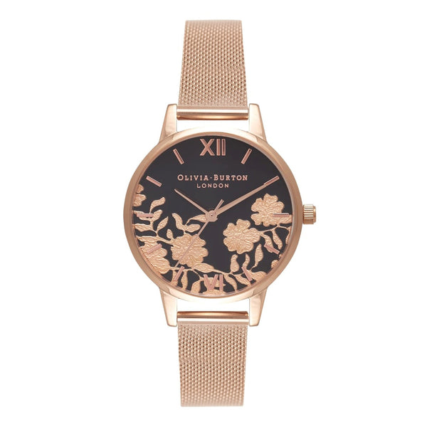 LACE DETAIL BLACK DIAL & ROSE GOLD MESH - MIDI