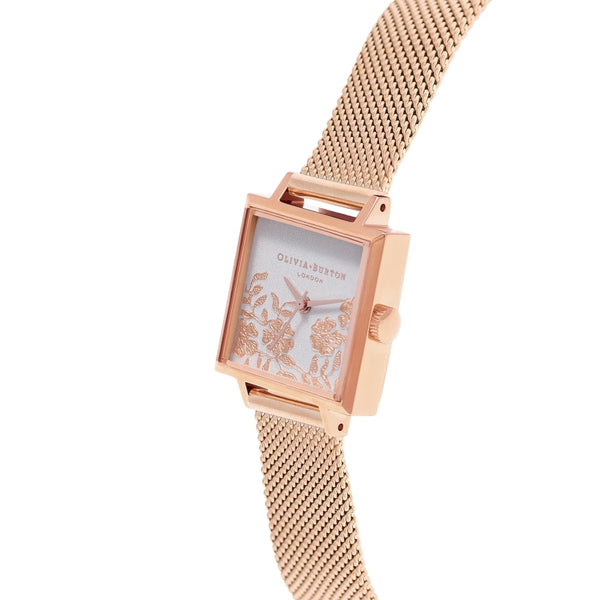 Midi Square Dial Lace Detail - Blush dial & Rose Gold Mesh