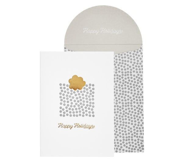 KIKKI-K GOLD LETTERPRESS CARD - HAPPY HOLIDAYS