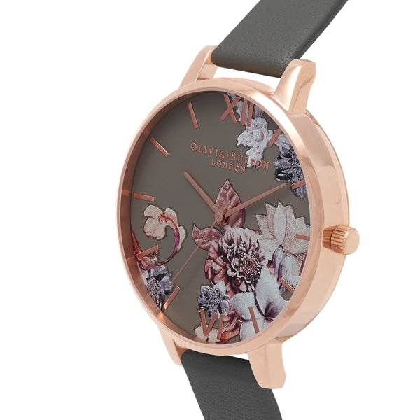 Big Dial Marble Floral Dark Grey & Rose Gold Watch