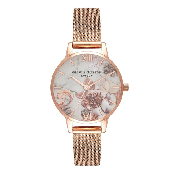 Midi Dial Marble Floral Rose Gold Mesh Watch