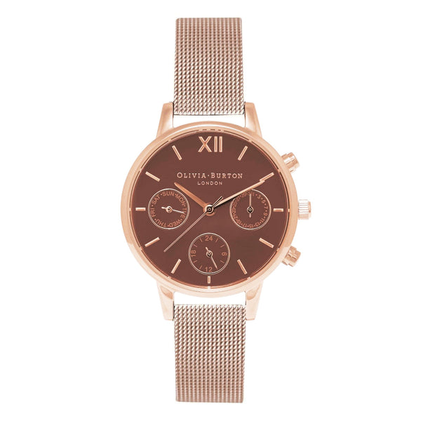 MIDI CHRONO DETAIL BROWN DIAL, ROSE GOLD MESH