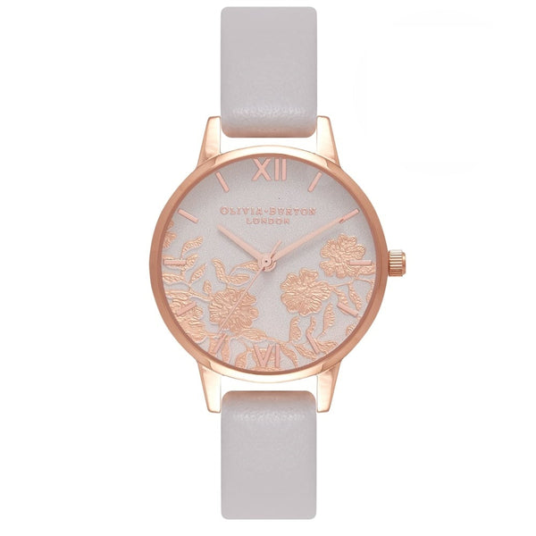 Midi Lace Detail Blush & Rose Gold Watch