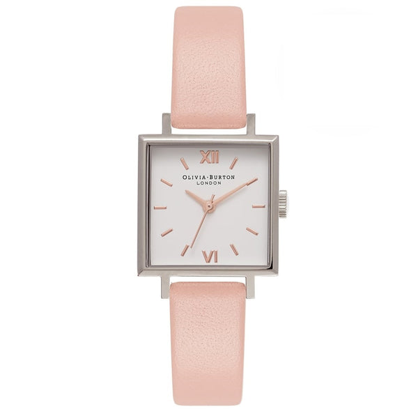 Midi Square Dial Dusty Pink, Silver & Rose Gold Watch