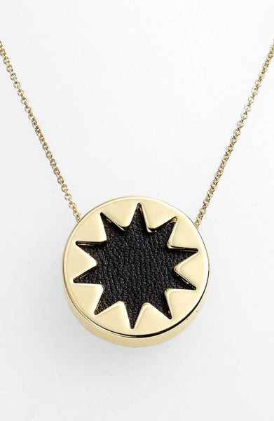 BLACK MINI SUNBURST PENDANT NECKLACE