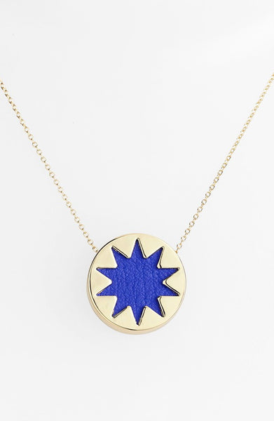COBALT BLUE MINI SUNBURST PENDANT NECKLACE