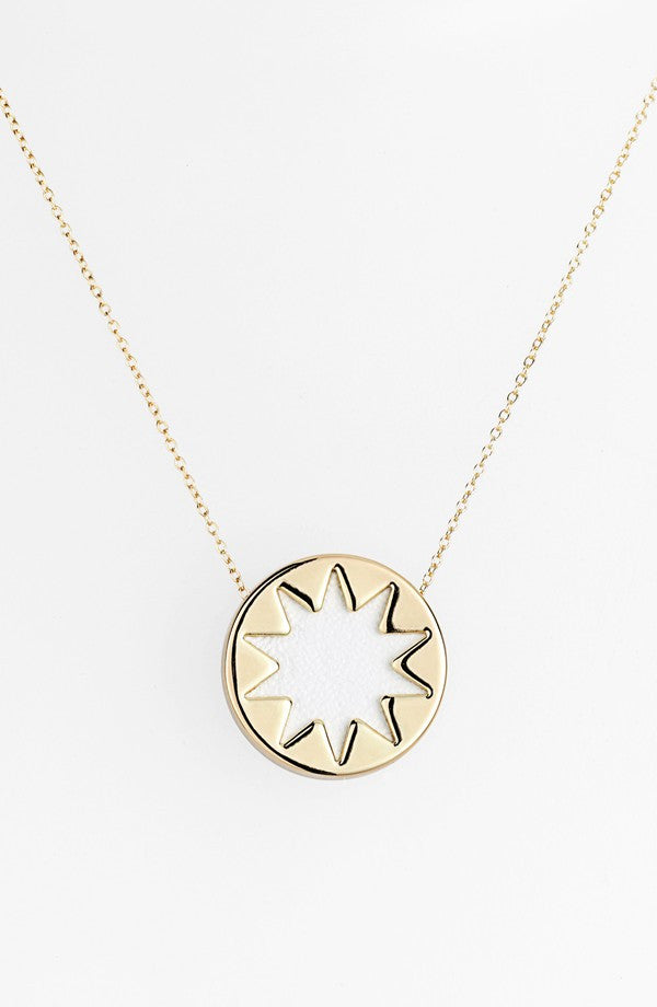 White mini sunburst pendant necklace just tangy white mini sunburst pendant necklace aloadofball Images