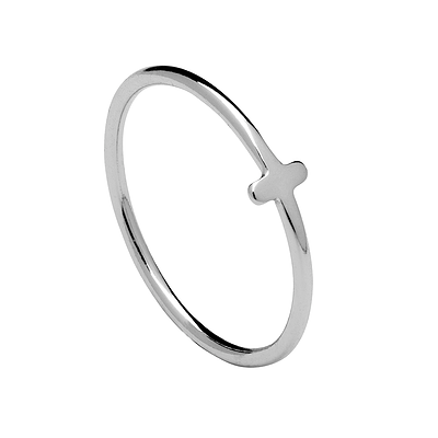 MINI CROSS SILVER RING