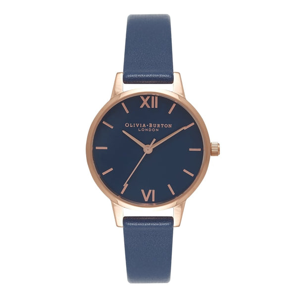 MIDI NAVY DIAL WITH ROSE GOLD, NAVY STRAP