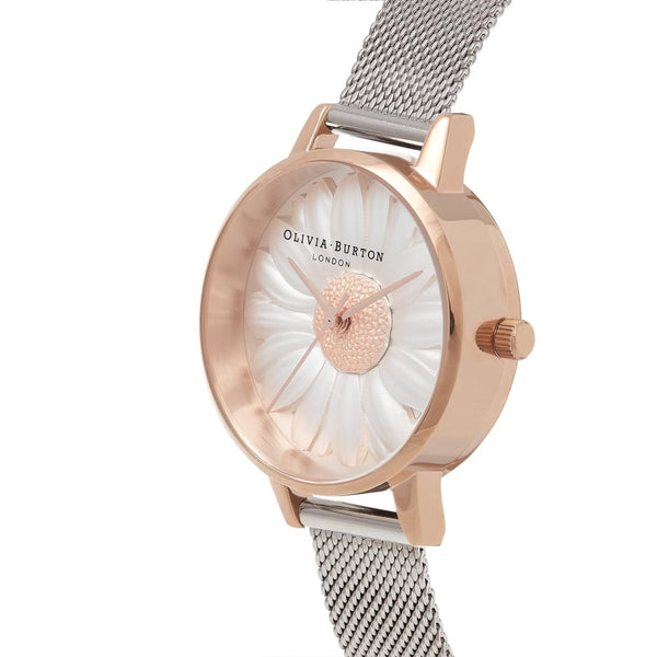 3D Daisy Rose Gold & Silver Mesh Watch