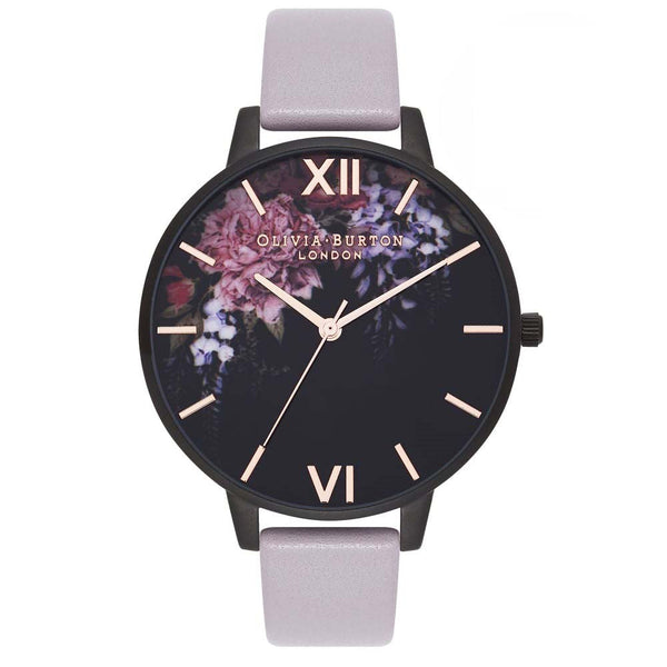After Dark Floral Grey Lilac & Matte Black Watch