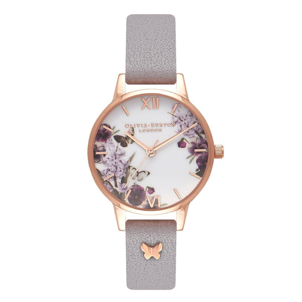 Midi dial Enchanted Garden 3D Butterfly Embellished Strap Grey Lilac & Rose Gold Watch