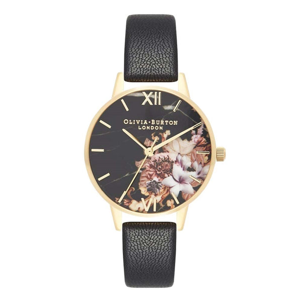 Midi Dial Marble Floral Black & Gold Watch