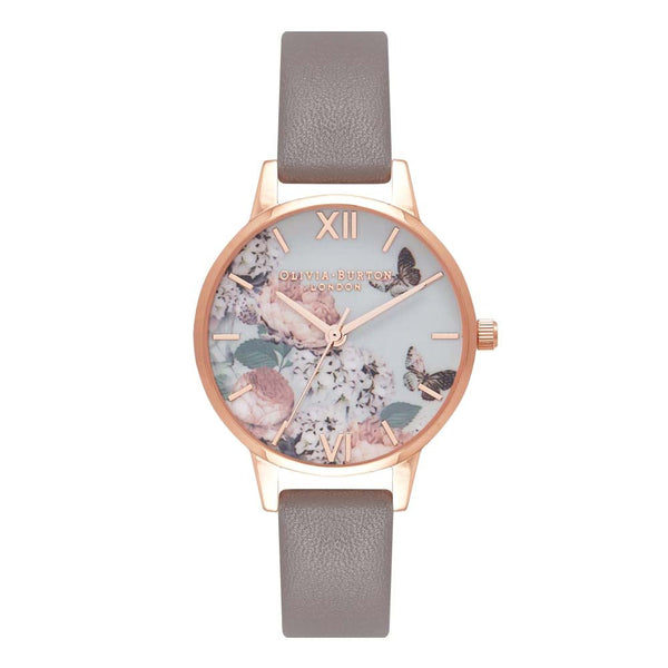 Midi Signature Floral London Grey & Rose Gold Watch