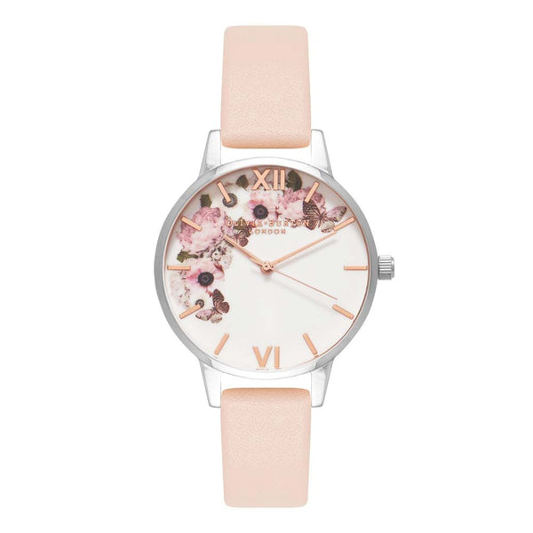 Midi Enchanted Garden Signature Floral Nude Peach, Silver & Rose Gold Watch