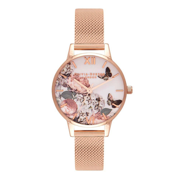 Midi Signature Floral Rose Gold Mesh Watch