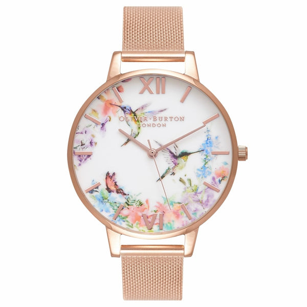 PAINTERLY PRINTS Hummingbird Peach & Rose Gold Mesh Strap