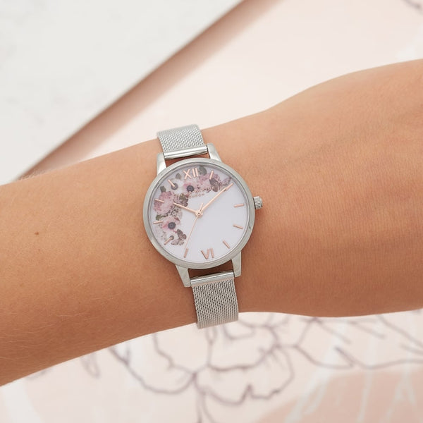 Midi Enchanted Garden Signature Floral Silver Mesh Watch