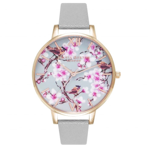 PAINTERLY PRINTS BLOSSOM BIRDS ROSE GOLD