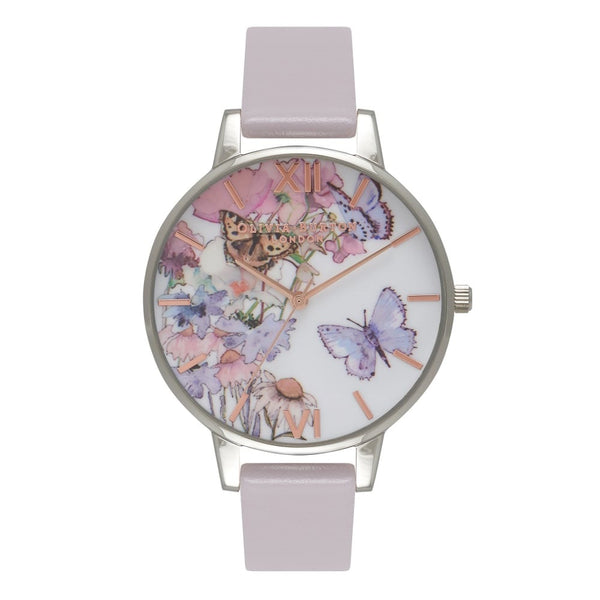 Painterly Prints Butterfly Grey Lilac, Silver & Rose Gold