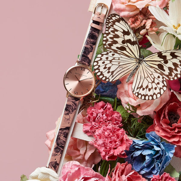 PAINTERLY PRINTS FLORAL STRAP IN ROSE GOLD