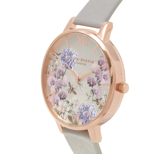 Big Dial Parlour Bee Blooms, Grey & Rose Gold