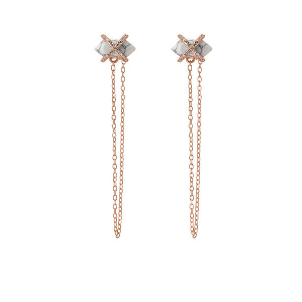 PARISIAN DUSK CHAIN STUD - WHITE HOWLITE/ROSE GOLD