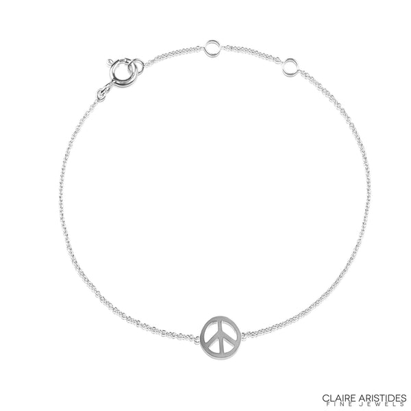 PEACE CHARM BRACELET WHITE GOLD