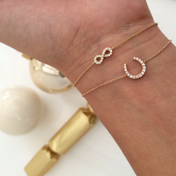 (PRE-ORDER) DIAMOND HORSESHOE CHARM BRACELET (3 COLOURS)