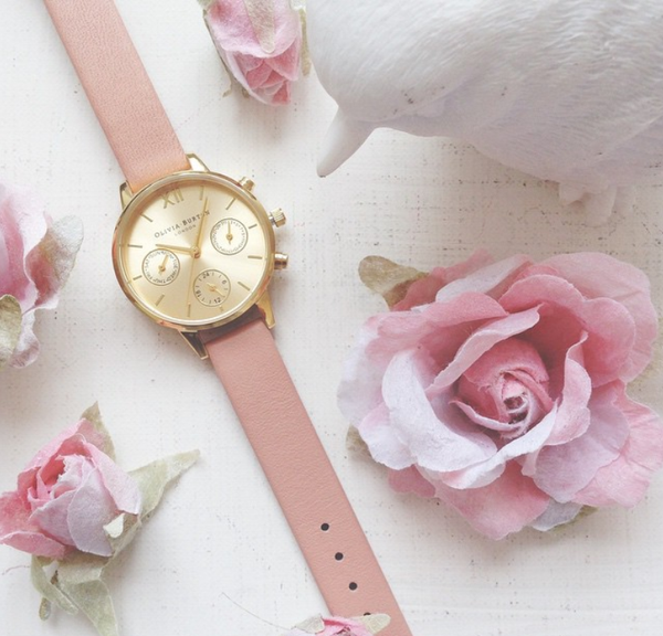 MIDI CHRONO DETAIL DUSTY PINK AND GOLD