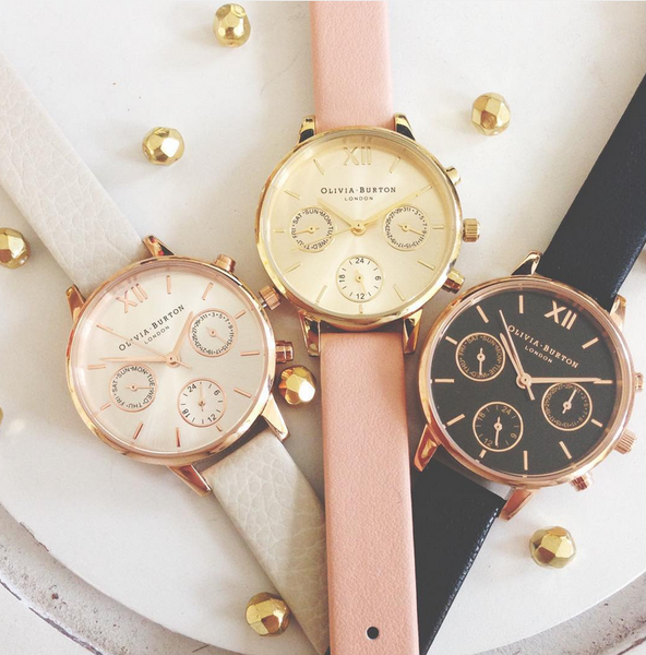 MIDI DIAL CHRONO DETAIL BLACK DIAL AND ROSE GOLD
