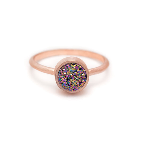 Kristine Lily Jewelry - Rainbow Peacock Druzy Ring in Rose Gold