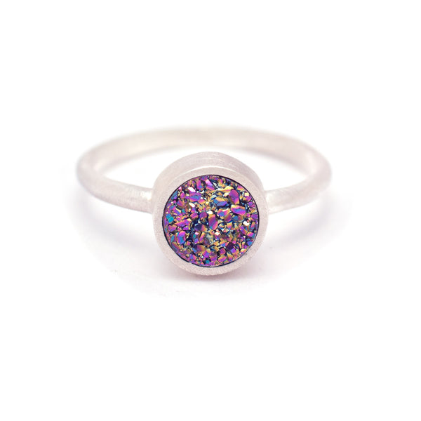 Kristine Lily Jewelry - Rainbow Peacock Druzy Ring in Sterling Silver