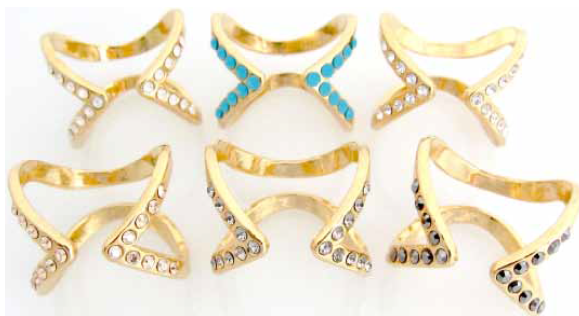 Double Open Ring - Gold (White crystal)