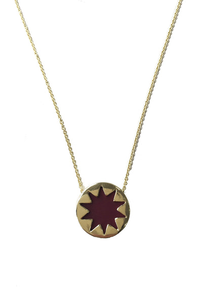 SANGRIA RED MINI SUNBURST PENDANT NECKLACE