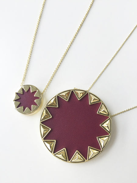 SANGRIA RED LARGE SUNBURST PENDANT NECKLACE