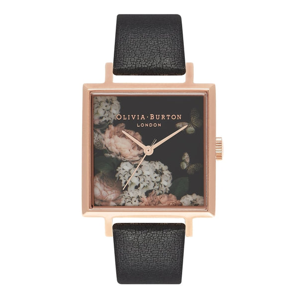 Signature Floral Big Square Dial Black & Rose Gold Watch