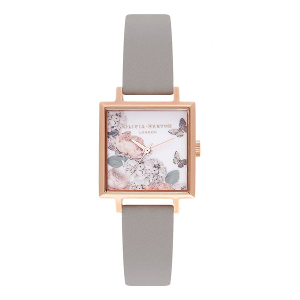 Midi Square Dial Signature Florals Grey & Rose Gold