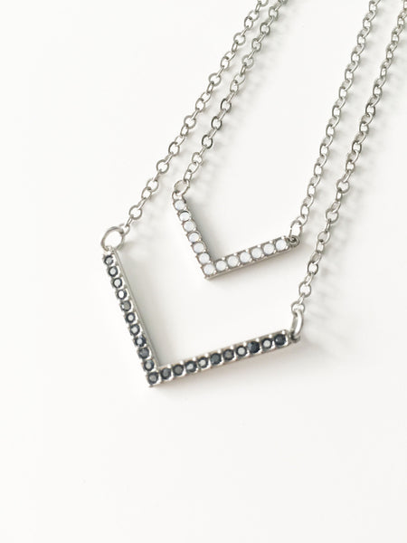 "Swarovski Double ""V"" Neckace - Black and White Opal"