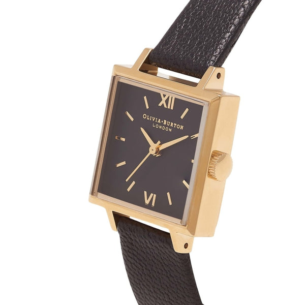 Midi Square Dial Black Dial & Gold
