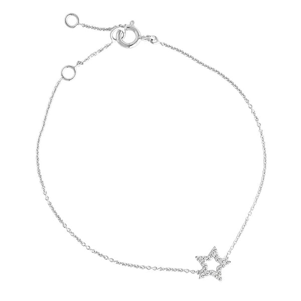 DIAMOND STAR *GAZE CHARM BRACELET WHITE GOLD