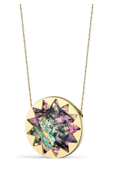 ABALONE SHELL LARGE SUNBURST PENDANT NECKLACE