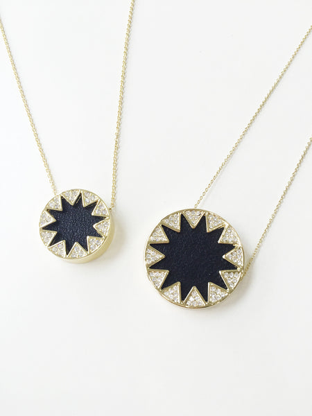 BLACK GLITTER PAVE SUNBURST PENDANT NECKLACE