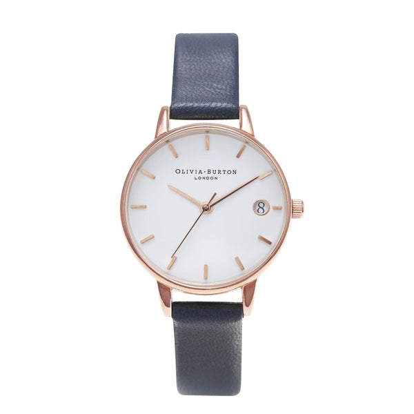 THE DANDY - MIDI WHITE DIAL WITH NAVY STRAP
